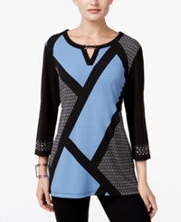 Jm Collection Colorblocked Keyhole Tunic Only At Macy's Modest Block Blue