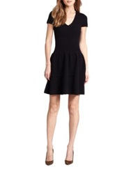 Saks Fifth Avenue Cashmere Ottoman Fit And Flare Dress Black Charcoal Grey