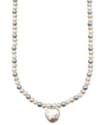 Macy's Pearl Necklace Sterling Silver Multicolor Cultured Freshwater Pearl Heart Pendant