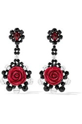 Ben Amun Bead Resin And Silver Tone Earrings Red
