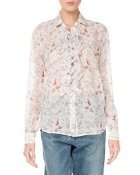 Saint Laurent Ruffled Floral Print Voile Blouse White Pattern