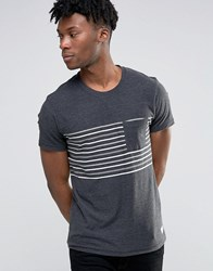 Selected Homme Striped Pocket T Shirt Anthrocite Grey