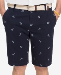 Izod Men's Anchor Print Shorts Midnight White