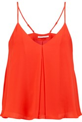 Rebecca Minkoff Blanche Pleated Silk Top Orange