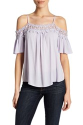 Jolt Crochet Trim Cold Shoulder Shirt Purple