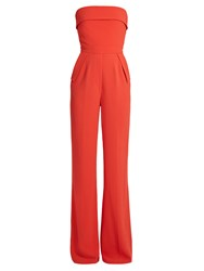 Elie Saab Strapless Crepe Jumpsuit Red