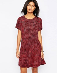 Pepe Jeans Gea Printed Babydoll Dress 185Mojo Red