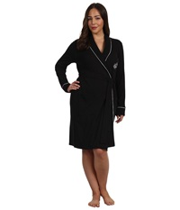 Lauren Ralph Lauren Plus Size Essentials Quilted Collar And Cuff Robe Black Women's Robe