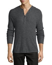 Rag And Bone Merino Wool Waffle Henley Charcoal