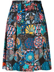 Paul Smith Ps By Mixed Print Pleated Skirt Black