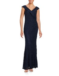 Decode 1.8 Sleeveless Flared Glitter Lace Gown Navy