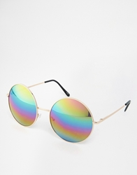 Asos Oversized Metal Round Sunglasses With Rainbow Lens Gold