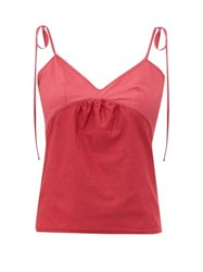 Rossell England Tie Strap Cotton Jersey Camisole Ruby