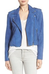 Pam And Gela Suede Moto Jacket Blue