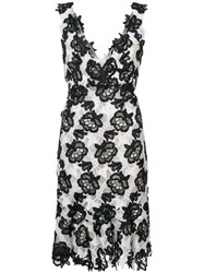 Monique Lhuillier Floral Lace V Neck Dress Silk Nylon Polyester Black