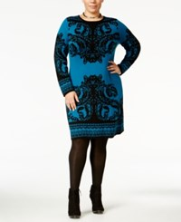 Ny Collection Plus Size Jacquard Sweater Dress Blue
