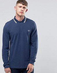 Fred Perry Polo Shirt With Long Sleeves In Service Blue Service Blue