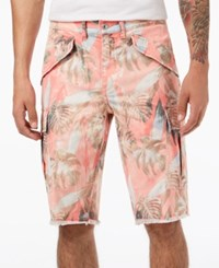 Guess Men's Palm Tree Cargo Shorts Sunset Palm Pink Washed