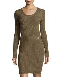See By Chloe Ribbed Long Sleeve Sweaterdress Brown