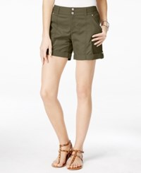Inc International Concepts Cuffed Curvy Fit Twill Shorts Only At Macy's Olive Drab