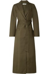 Anna Quan Nora Belted Twill Coat Army Green