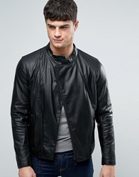 Armani Jeans Faux Leather Biker Jacket Slim Fit In Black Nero