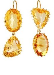 Renee Lewis Women's Mismatched Citrine Double Drop Earrings Colorless