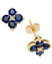 Macy's Sapphire 1 1 3 Ct. T.W. And Diamond Accent Flower Stud Earrings In 10K Yellow Gold