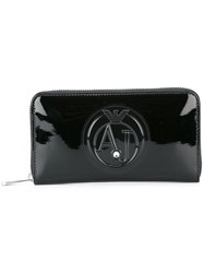 Armani Jeans Embossed Logo Zipped Wallet Black