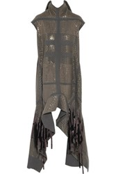 Rick Owens Sequin Embellished Silk Turtleneck Top Dark Gray