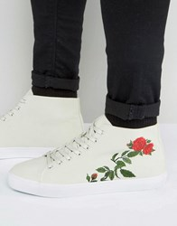 Asos Lace Up Plimsolls In Off White With Floral Embroidery Grey