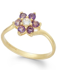 Victoria Townsend Purple Amethyst 1 4 Ct. T.W. And White Topaz 1 10 Ct. T.W. Flower Ring In 18K Gold Over Sterling Silver