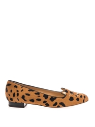 Charlotte Olympia Kitty Leopard Calf Hair Flats