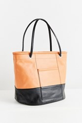 Urban Outfitters Colorblock Leather Bucket Tote Bag Black Brown