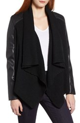 Bagatelle Faux Leather And Knit Drape Jacket Black
