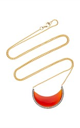 Noor Fares Chandra Cresent Pendant In Yellow Gold With Carnelian And Diamonds Orange