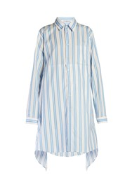 Balenciaga Fold Back Striped Shirtdress Blue Stripe