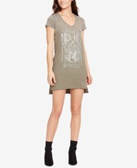 William Rast High Low Graphic T Shirt Dress Classic Rock And Roll Rifle