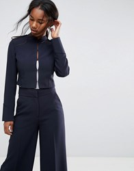 Asos Tailored Cropped Military Style Blazer Navy