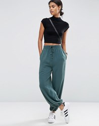Asos Washed Woven Casual Blouson Trousers Teal Green