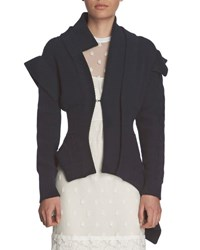 Burberry Knit Military Style Jacket Navy