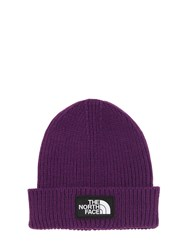 The North Face Logo Box Cuffed Acrylic Blend Beanie Purple