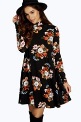 Boohoo High Neck Swing Floral Dress Multi