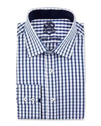 English Laundry Plaid Long Sleeve Dress Shirt Blue