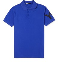 Y 3 Cotton Pique Polo Shirt Blue