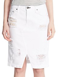 Rag And Bone The Distressed Pencil Skirt Shred White