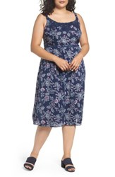 Evans Plus Size Women's Floral Print Crochet Trim Dress Navy