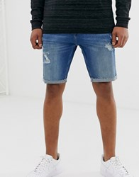 Hollister Skinny Fit Destroyed Denim Shorts In Medium Wash Blue