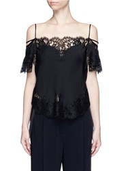 Givenchy Floral Lace Trim Silk Cold Shoulder Top Black