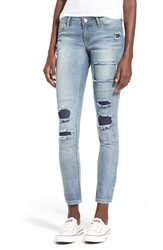 Generra Ripped And Repaired Skinny Jeans Light Wash